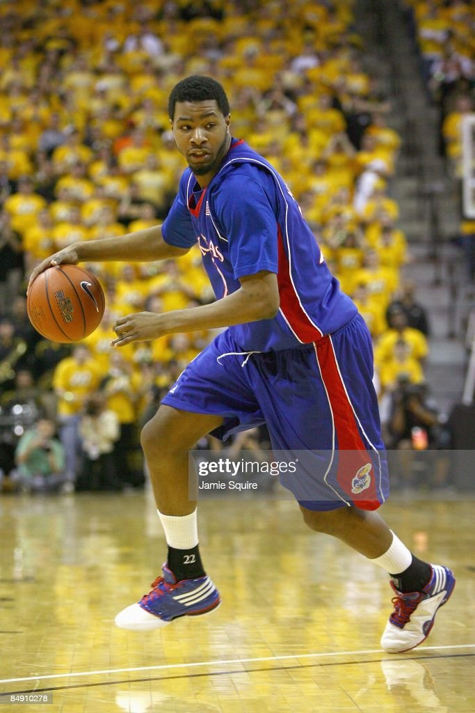 Markieff Morris of the the Kansas Jayhawks dribbles the ball against the Missouri Tigers on February 9 2009 at Mizzou Arena in Columbia Missouri