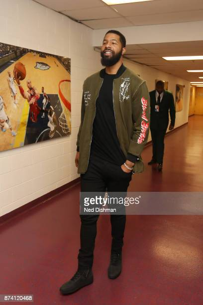 Markieff Morris of the Washington Wizards arrives at the arena before the game against the Los Angeles Lakers on November 9 2017 at Capital One Arena...