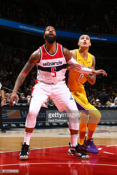 Markieff Morris of the Washington Wizards boxes out against the Los Angeles Lakers on November 9 2017 at Capital One Arena in Washington DC NOTE TO...