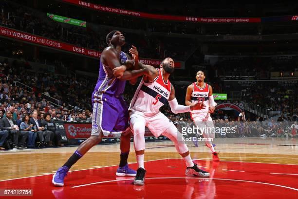 Markieff Morris of the Washington Wizards boxes out Zach Randolph of the Sacramento Kings on November 13 2017 at Capital One Arena in Washington DC...