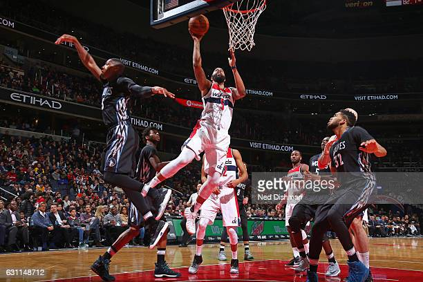 Markieff Morris of the Washington Wizards drives to the basket against the Minnesota Timberwolves on January 6 2017 at Verizon Center in Washington...