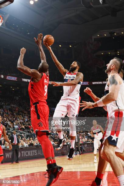 Markieff Morris of the Washington Wizards drives to the basket against the Toronto Raptors on November 5 2017 at the Air Canada Centre in Toronto...