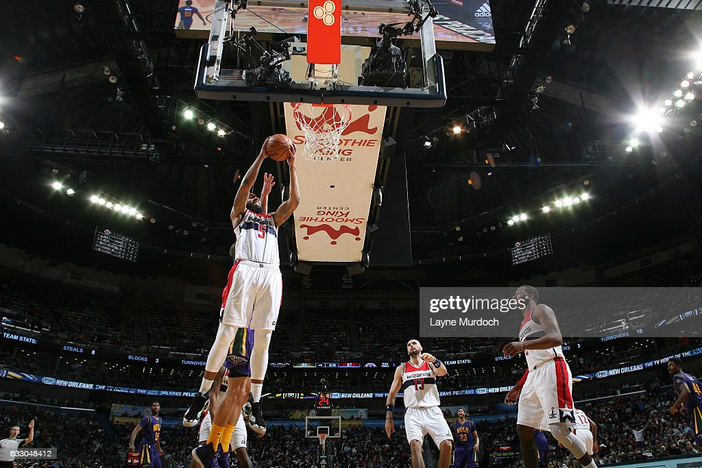Markieff Morris #5 of the Washington Wizards grabs the rebound against the New Orleans Pelicans during the game on January 29, 2017 at Smoothie King Center in New Orleans, Louisiana.