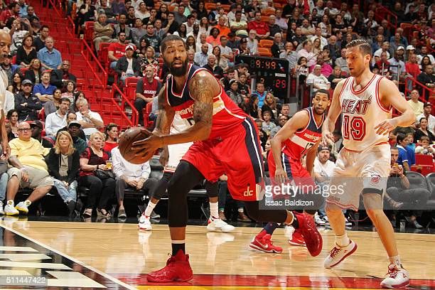 Markieff Morris of the Washington Wizards handles the ball against the Miami Heat on February 20 2016 at American Airlines Arena in Miami Florida...