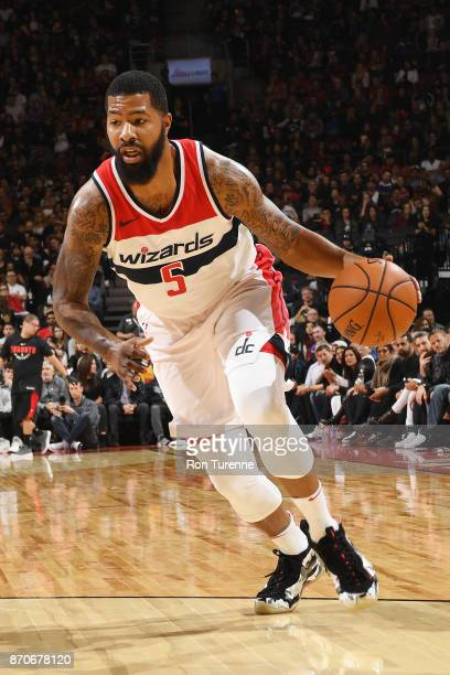Markieff Morris of the Washington Wizards handles the ball against the Toronto Raptors on November 5 2017 at the Air Canada Centre in Toronto Ontario...