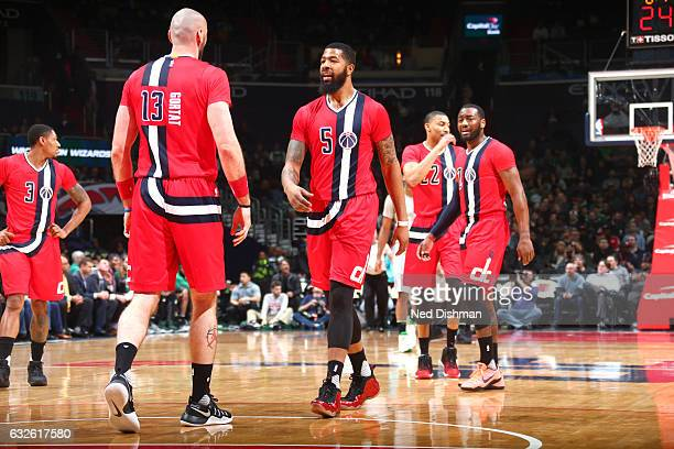 Markieff Morris of the Washington Wizards looks on during the game against the Boston Celtics on January 24 2017 at Verizon Center in Washington DC...