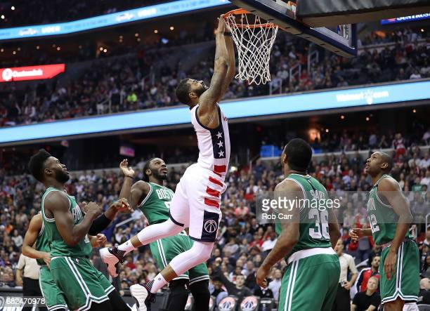 Markieff Morris of the Washington Wizards misses a dunk against the Boston Celtics during Game Six of the NBA Eastern Conference SemiFinals at...
