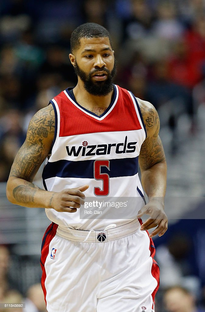 Markieff Morris of the Washington Wizards runs on the floor against the Detroit Pistons in the first half at Verizon Center on February 19 2016 in...
