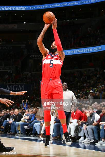 Markieff Morris of the Washington Wizards shoots the ball against the Miami Heat on November 17 2017 at Capital One Arena in Washington DC NOTE TO...