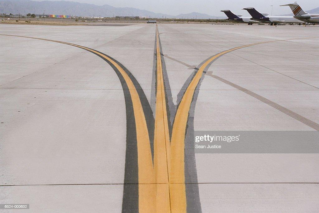Markings on Airport Runway : Stock Photo