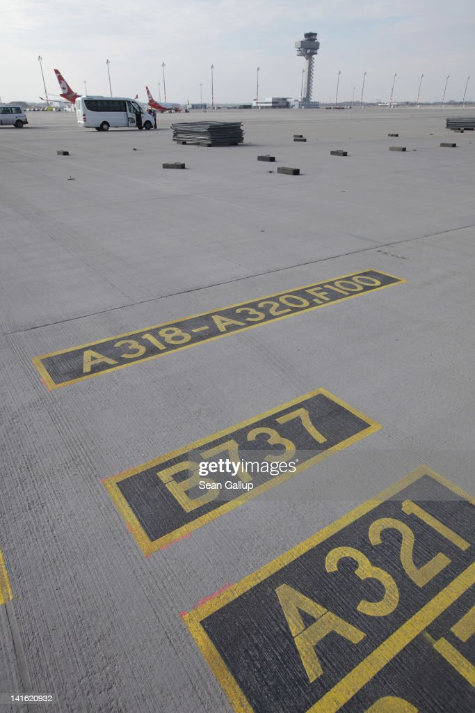 Markings show a gate suited for Boeing 737 and Airbus A318-320 passenger planes on the tarmac at Willy Brandt Berlin Brandenburg International Airport on March 20, 2012 in Berlin, Germany. The new airport, which will replace the city's current Tegel and Schoenefeld airports, will officially open in May and begin operation on June 3.