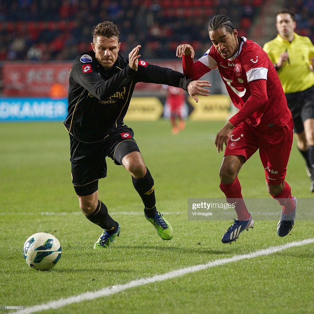 Mark-Jan Fledderus of Roda JC Kerkrade, Jerson Cabral of FC Twente during the Dutch Eredivisie match between FC Twente and Roda JC at the Grolsch stadium on April 6, 2013 in Enschede, The Netherlands