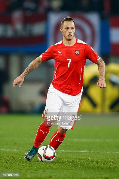 Marko Arnautovic of Austria controls the ball during the UEFA EURO 2016 Qualifier between Austria and Liechtenstein at Ernst Happel Stadion on...