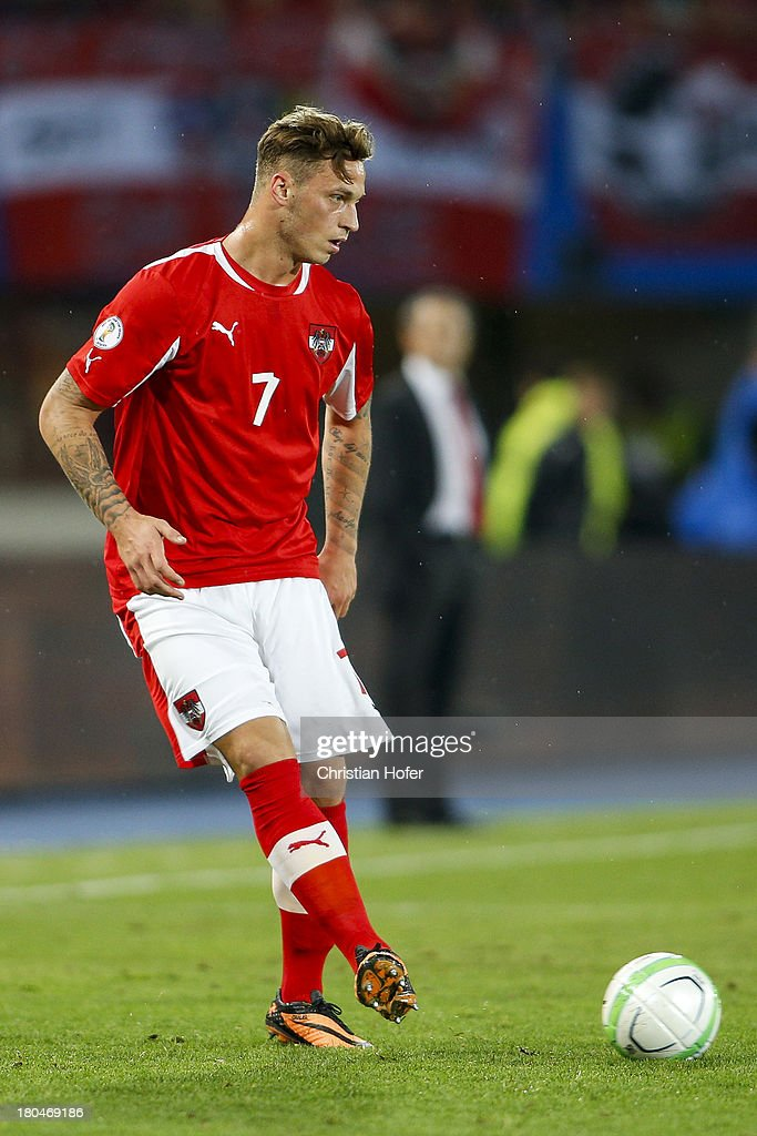 Marko Arnautovic of Austria in action during the FIFA World Cup 2014 Group C qualification match between Austria and the Republic of Ireland at the Ernst Happel Stadium on September 10, 2013 in Vienna, Austria.