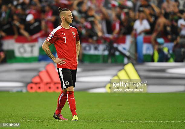 Marko Arnautovic of Austria shows his dejection after Hungary's first goal during the UEFA EURO 2016 Group F match between Austria and Hungary at...
