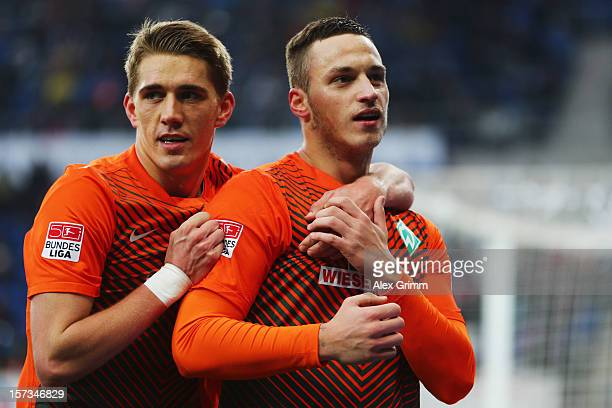 Marko Arnautovic of Bremen celebrates his team's second goal with team mate Nils Petersen during the Bundesliga match between TSG 1899 Hoffenheim and...