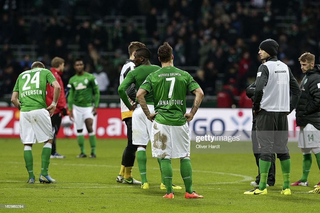 Marko Arnautovic (C) of Bremen frustration after the Bundesliga match between SV Werder Bremen and FC Augsburg at Weser Stadium on March 2, 2013 in Bremen, Germany.