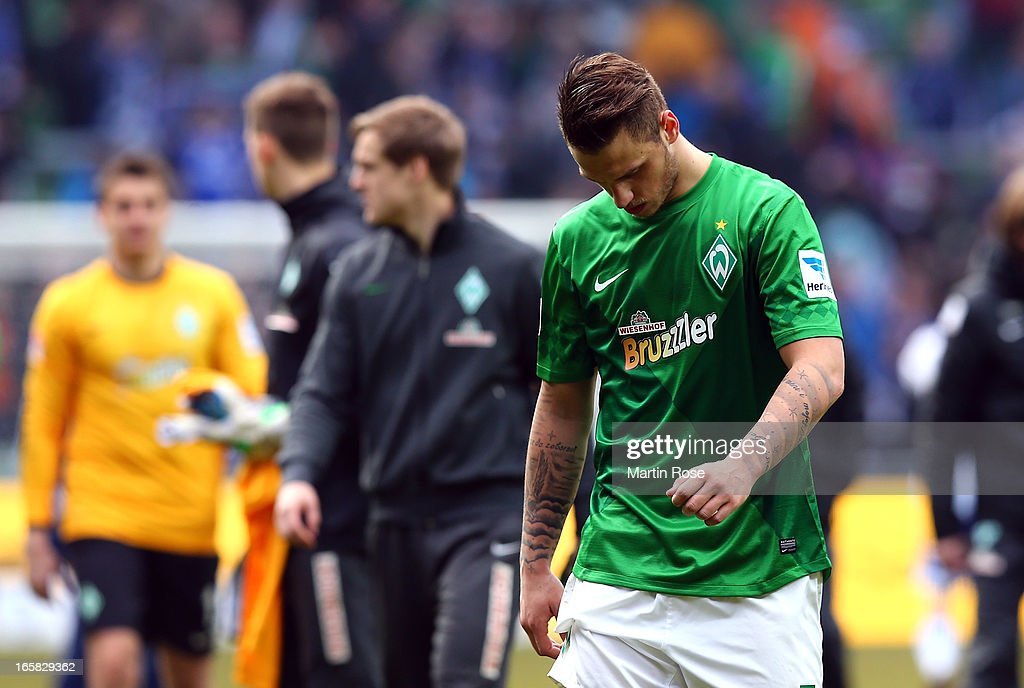 Marko Arnautovic of Bremen looks dejected after the Bundesliga match between Werder Bremen and FC Schalke 04 at Weser Stadium on April 6, 2013 in Bremen, Germany.