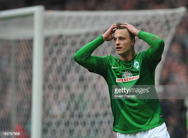 Marko Arnautovic of Bremen looks dejected during the Bundesliga match between SV Werder Bremen and SpVgg Greuther Fuerth at Weser Stadium on March 16...