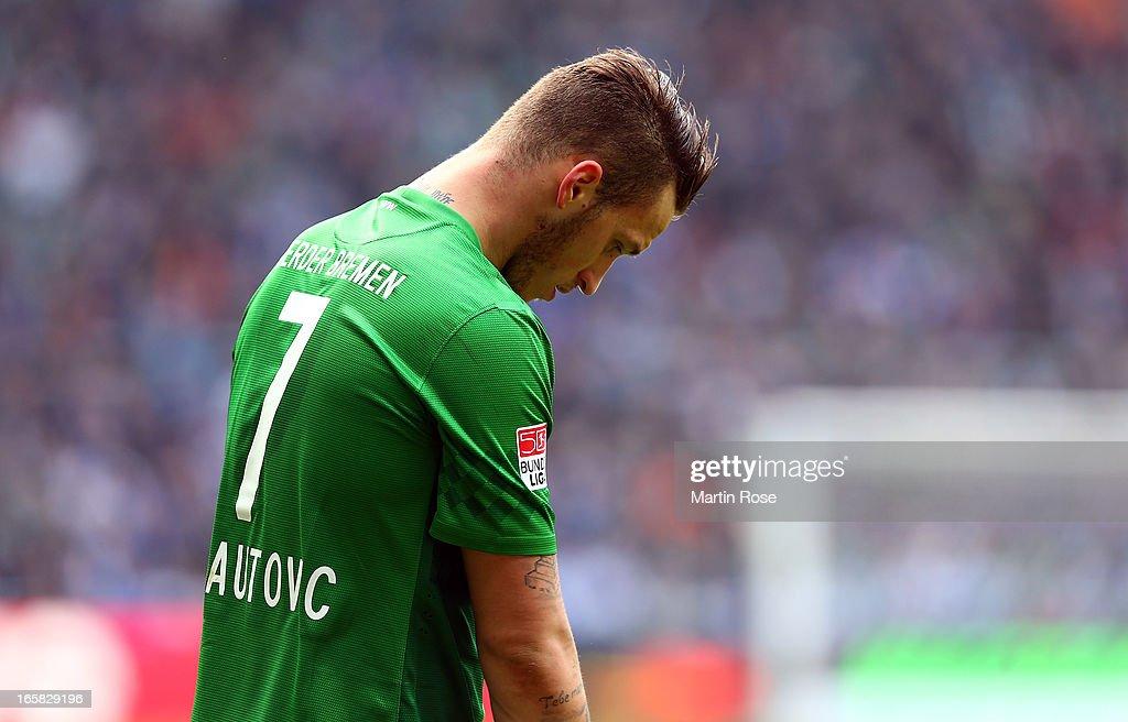 Marko Arnautovic of Bremen looks dejected during the Bundesliga match between Werder Bremen and FC Schalke 04 at Weser Stadium on April 6, 2013 in Bremen, Germany.