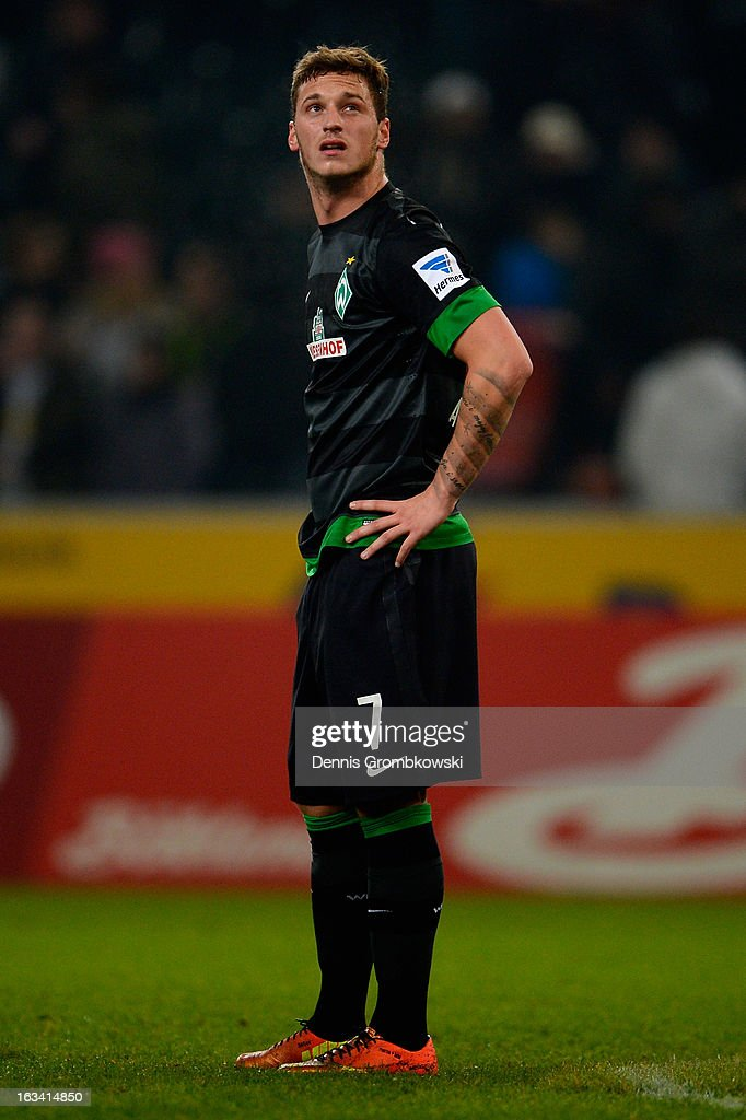 <a gi-track='captionPersonalityLinkClicked' href=/galleries/search?phrase=Marko+Arnautovic&family=editorial&specificpeople=5567995 ng-click='$event.stopPropagation()'>Marko Arnautovic</a> of Bremen reacts after the Bundesliga match between VfL Borussia Moenchengladbach and SV Werder Bremen at Borussia Park Stadium on March 9, 2013 in Moenchengladbach, Germany.