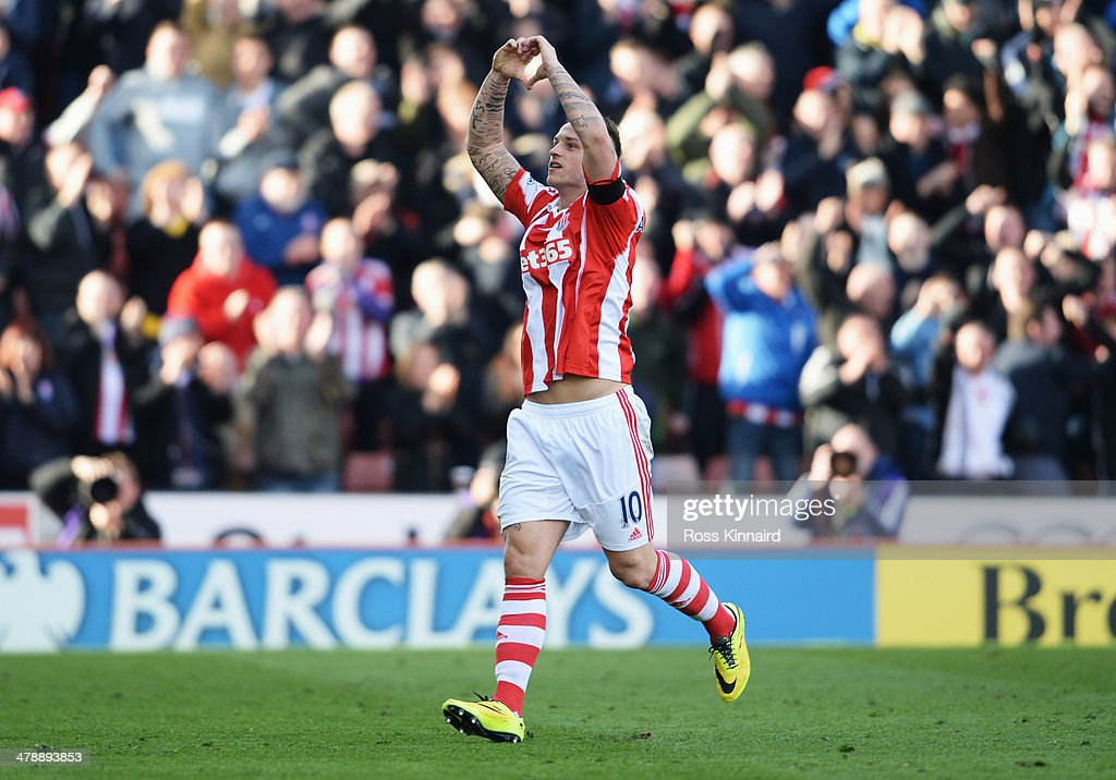 Marko Arnautovic of Stoke City celebrates as he scores their second goal during the Barclays Premier League match between Stoke City and West Ham United at Britannia Stadium on March 15, 2014 in Stoke on Trent, England.