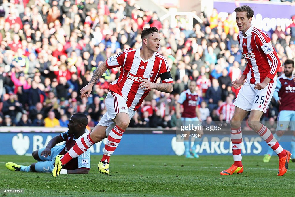 <a gi-track='captionPersonalityLinkClicked' href=/galleries/search?phrase=Marko+Arnautovic&family=editorial&specificpeople=5567995 ng-click='$event.stopPropagation()'>Marko Arnautovic</a> of Stoke City celebrates as he scores their second goal during the Barclays Premier League match between Stoke City and West Ham United at Britannia Stadium on March 15, 2014 in Stoke on Trent, England.