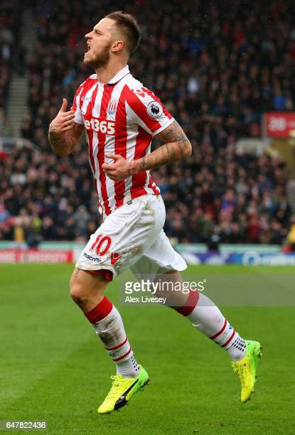 Marko Arnautovic of Stoke City celebrates scoring his sides first goal during the Premier League match between Stoke City and Middlesbrough at Bet365...