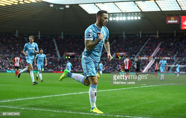 Marko Arnautovic of Stoke City celebrates scoring his sides second goal during the Premier League match between Sunderland and Stoke City at Stadium...