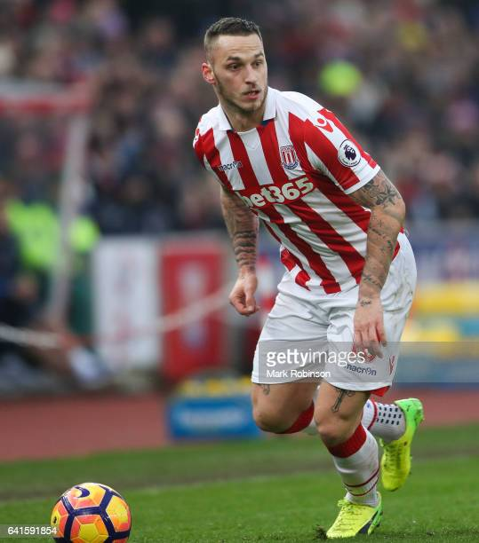 Marko Arnautovic of Stoke City during the Premier League match between Stoke City and Crystal Palace at Bet365 Stadium on February 11 2017 in Stoke...