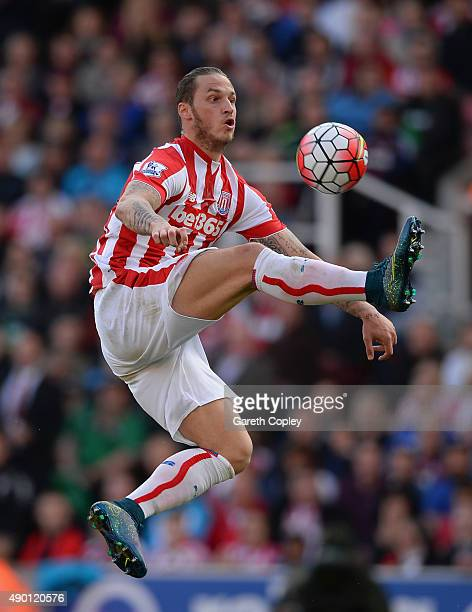 Marko Arnautovic of Stoke City in action during the Barclays Premier League match between Stoke City and AFC Bournemouth at Britannia Stadium on...