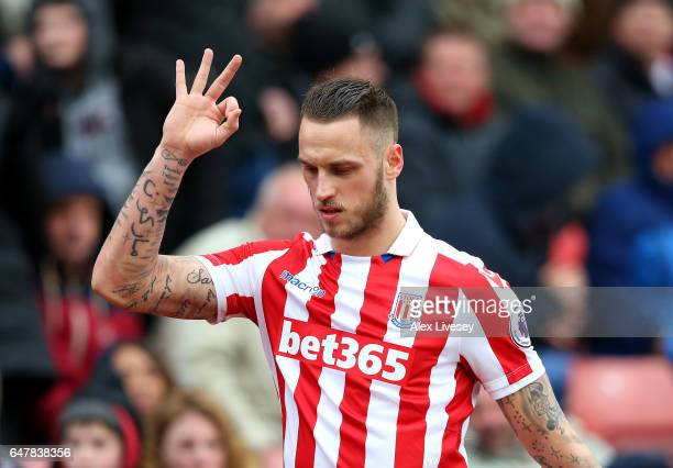 Marko Arnautovic of Stoke City reacts as he is subbed off during the Premier League match between Stoke City and Middlesbrough at Bet365 Stadium on...