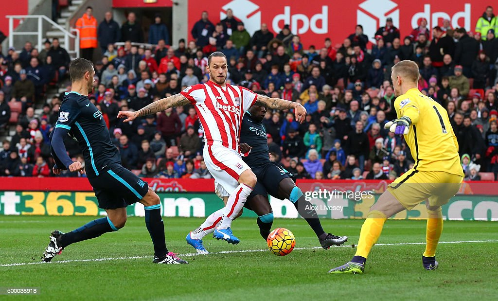 Marko Arnautovic of Stoke City scores his team's first goal during the Barclays Premier League match between Stoke City and Manchester City at Britannia Stadium on December 5, 2015 in Stoke on Trent, England.