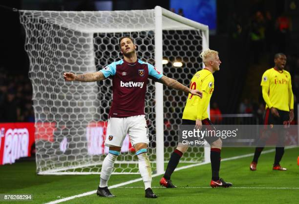 Marko Arnautovic of West Ham United reacts after a missed chance during the Premier League match between Watford and West Ham United at Vicarage Road...