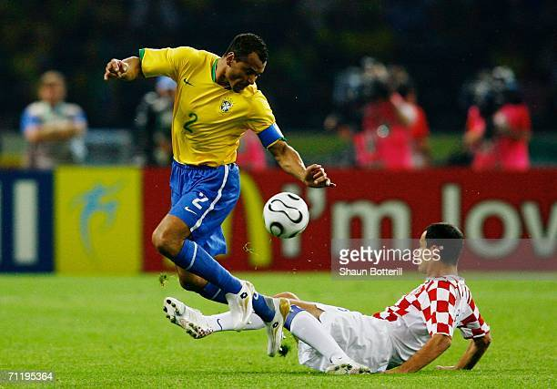 Marko Babic of Croatia challenges Cafu of Brazil for the ball during the FIFA World Cup Germany 2006 Group F match between Brazil and Croatia played...