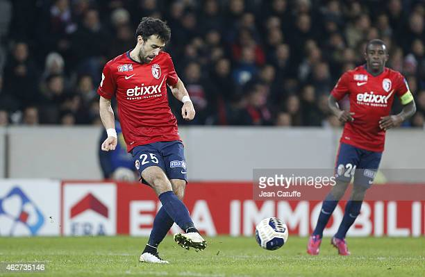 Marko Basa of Lille in action during the French League Cup match between Lille OSC and Paris SaintGermain at Grand Stade Pierre Mauroy on February 3...