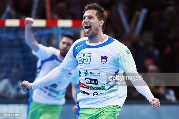 Marko Bezjak of Slovenia celebrates a goal during the 25th IHF Men's World Championship 2017 Bronze Medal Game between Slovenia and Croatia at...