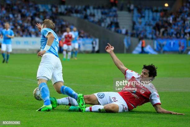 Marko Biskupovic of Kalmar FF give Malmo FF a penalty kick when he hit Anton Tinnerholm of Malmo FF during the Allsvenskan match between Malmo FF and...