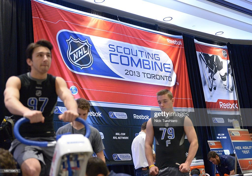 Marko Dano #79 and Emile Poirier #97 take part in the 2013 NHL Combine June 1, 2013 at the International Centre in Toronto, Ontario, Canada.
