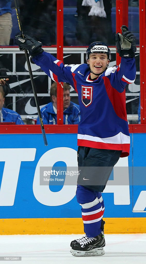 Marko Dano of Slovakia celebrates after the IIHF World Championship group H match between Slovakia and USA at Hartwall Areena on May 14, 2013 in Helsinki, Finland.