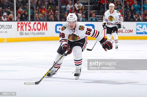 Marko Dano of the Chicago Blackhawks skates against the San Jose Sharks at SAP Center on November 25 2015 in San Jose California