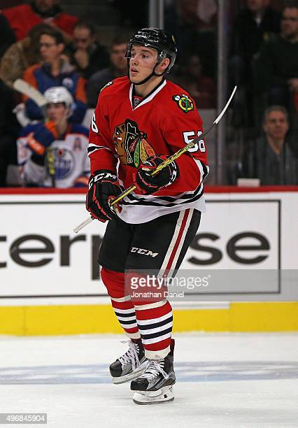 Marko Dano of the Chicago Blackhawks skates to a faceoff against the Edmonton Oilers at the United Center on November 8 2015 in Chicago Illinois The...