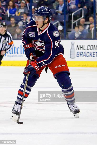 Marko Dano of the Columbus Blue Jackets controls the puck during the game against the Buffalo Sabres on April 10 2015 at Nationwide Arena in Columbus...