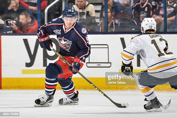 Marko Dano of the Columbus Blue Jackets skates against the Buffalo Sabres on April 10 2015 at Nationwide Arena in Columbus Ohio
