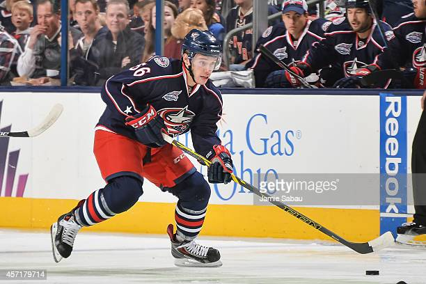 Marko Dano of the Columbus Blue Jackets skates with the puck against the New York Rangers on October 11 2014 at Nationwide Arena in Columbus Ohio