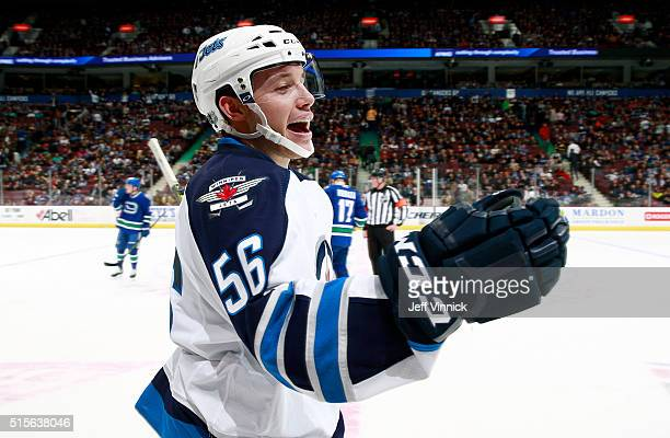 Marko Dano of the Winnipeg Jets celebrates his second goal against the Vancouver Canucks in their NHL game at Rogers Arena March 14 2016 in Vancouver...