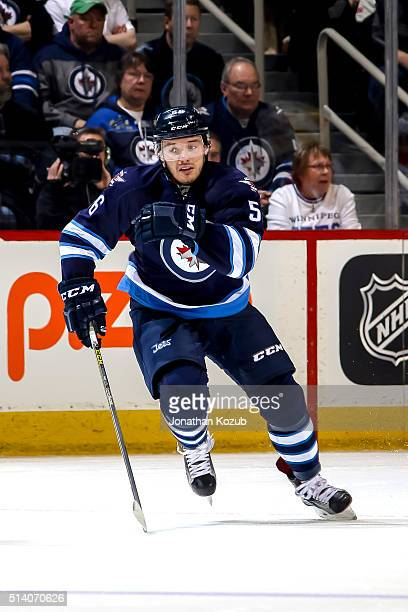 Marko Dano of the Winnipeg Jets follows the play down the ice during first period action against the Florida Panthers at the MTS Centre on March 1...