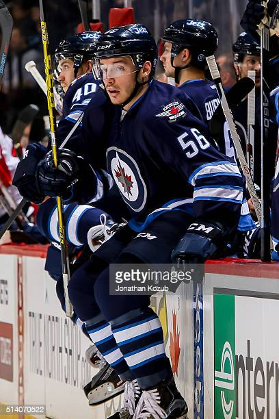 Marko Dano of the Winnipeg Jets gets set to change on the fly during second period action against the Florida Panthers at the MTS Centre on March 1...