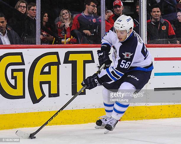 Marko Dano of the Winnipeg Jets in action against the Calgary Flames during an NHL game at Scotiabank Saddledome on March 16 2016 in Calgary Alberta...