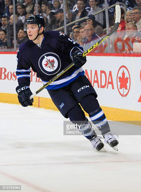 Marko Dano of the Winnipeg Jets keeps an eye on the play during first period action against the Nashville Predators at the MTS Centre on March 8 2016...